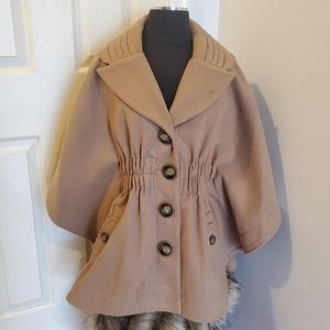 Jolt | Tan/Khaki Cape Coat | Small